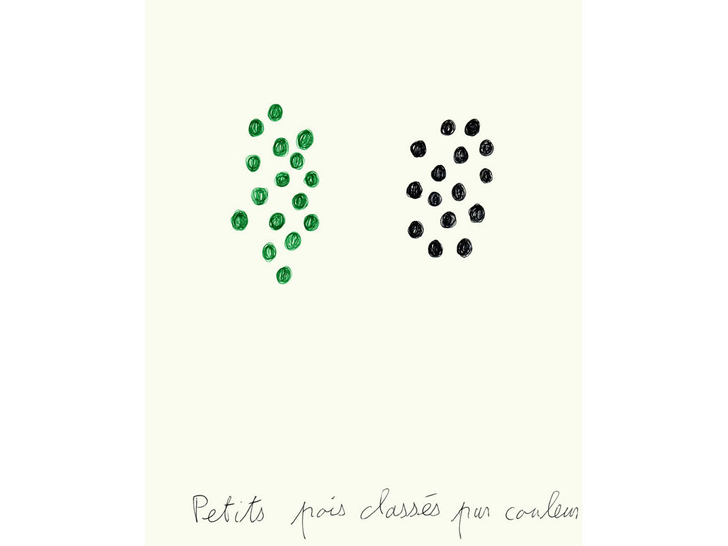 Claude Closky, 'Petits pois classés par couleur [peas classified by color]', 1995, ballpoint pen on paper, 30 x 24 cm.
